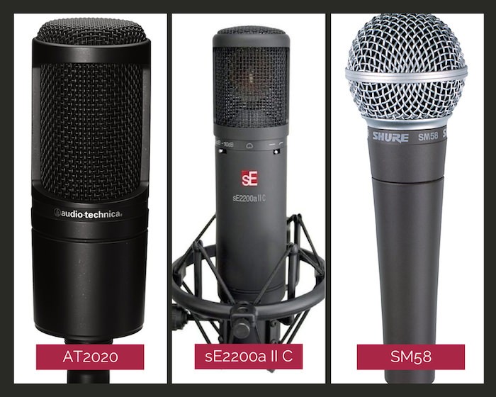 Three of the best microphones for recording vocals in the home studio - the AT2020, the sE2200a II C, and the SM58