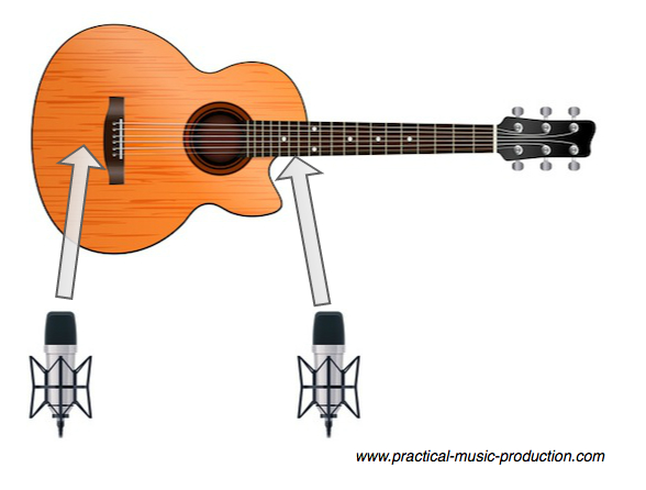 Recording acoustic guitar can be simple when using two condenser microphones - one pointing just behind the bridge, the other towards where the neck meets the body