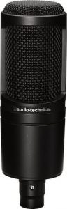 The Audio-Technica AT2020 condenser microphone
