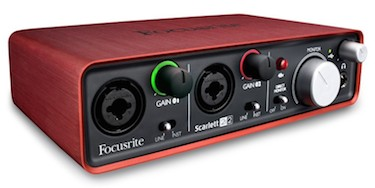 The Focusrite Scarlett 2i2 audio interface
