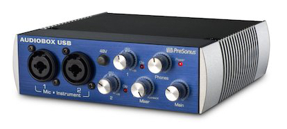 The PreSonus AudioBox 2x2 audio interface