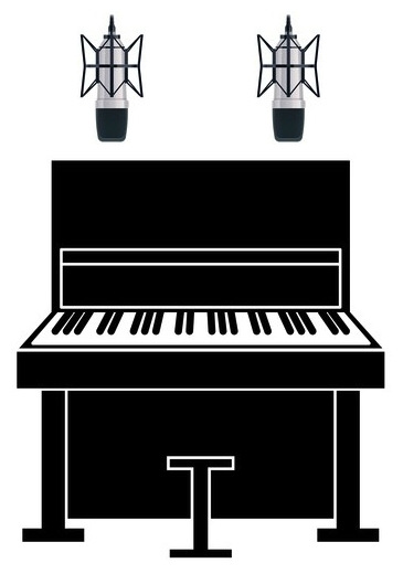 Recording an upright piano with two condenser microphones, with the top lid removed