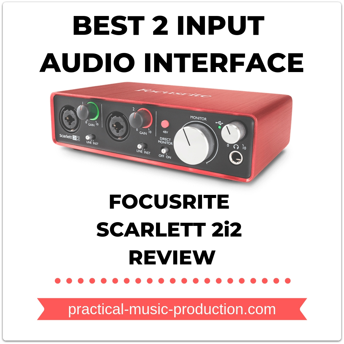 The best 2 input audio interface is by far the Focusrite Scarlett 2i2