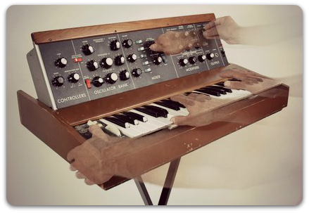 This is a Minimoog synthesizer from Moog Music, one of the most famous synths in the world